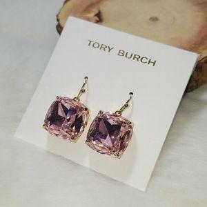 Tory Burch pink crystal drop earrings